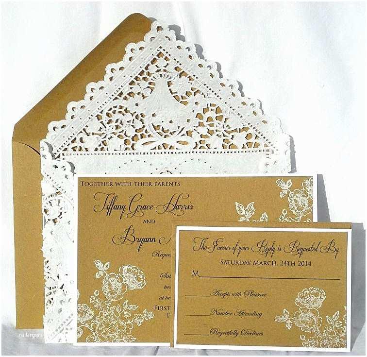 Primitive Wedding Invitations Wedding Invitation Kraft Rustic W White Vintage Hand