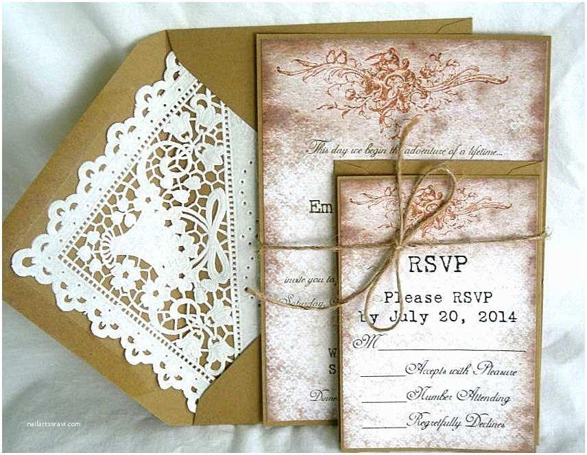 Primitive Wedding Invitations Wedding Invitation Vintage Rustic Primitive Lace W Kraft