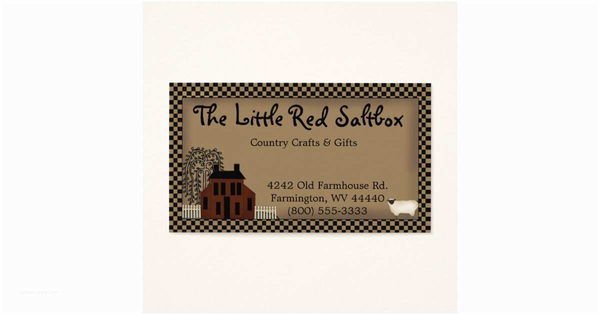 Primitive Wedding Invitations Whimsical Primitive Red Saltbox Business Card