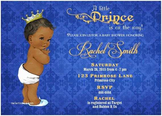 Prince Baby Shower Invitations African American Boy Baby Shower Invitation Boy Printable