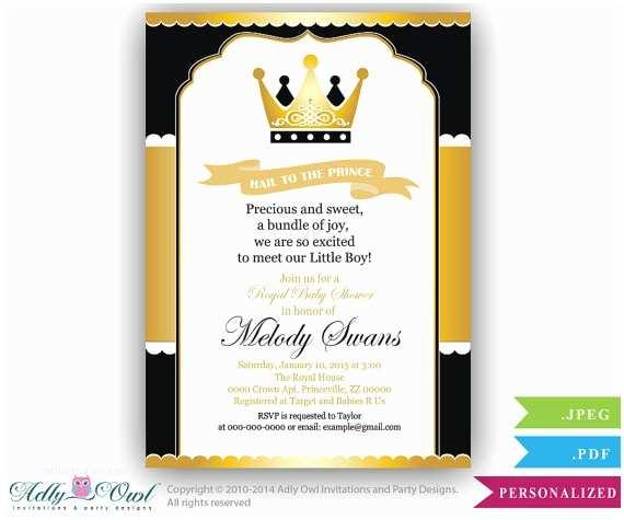 Prince Baby Shower Invitations Black Gold Prince Baby Shower Invitation for by