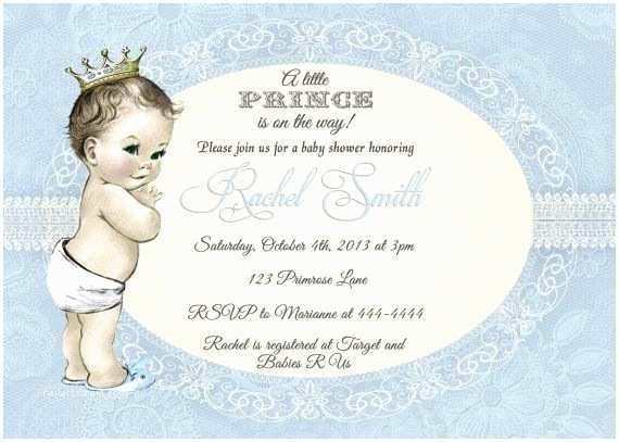Prince Baby Shower Invitations Blue Boy Baby Shower Invitation