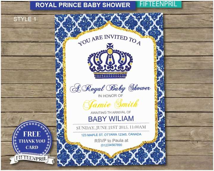 Prince Baby Shower Invitations Instant Download Royal Prince Baby Shower Invitation with