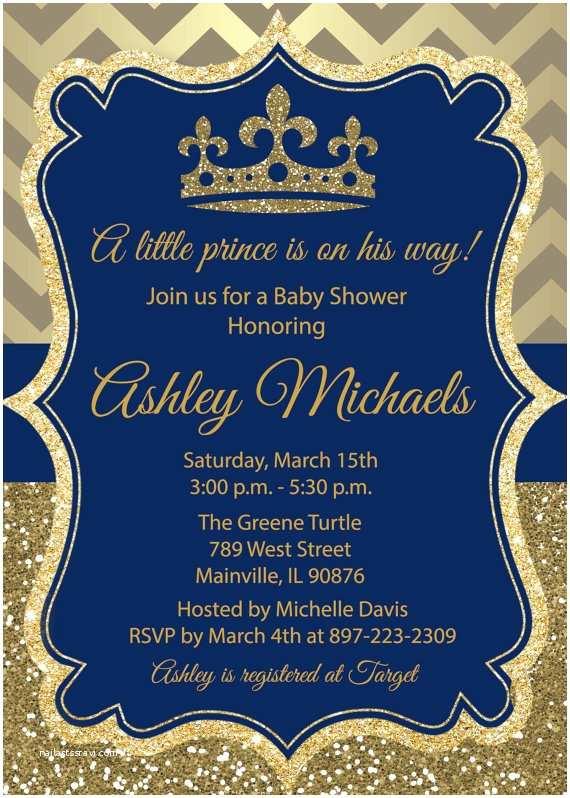 Prince Baby Shower Invitations Prince Gold Blue Glitter Royal Baby Shower Birthday