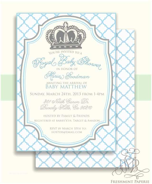 Prince Baby Shower Invitations Royal Baby Shower Invitation Baby Shower Invitation Prince