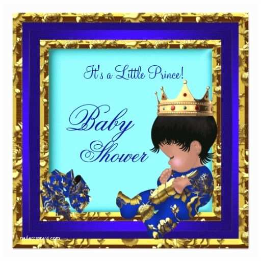 Prince themed Baby Shower Invitations Baby Shower Royal Blue Gold Boy Crown Prince Card