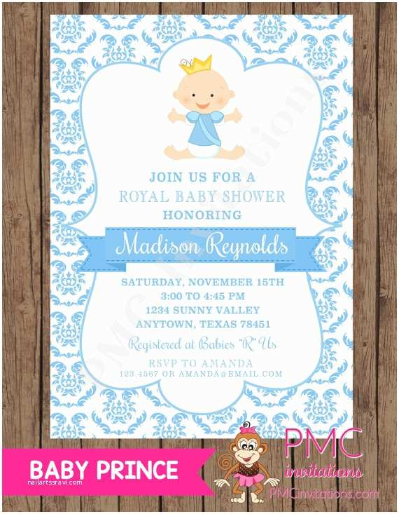 Prince themed Baby Shower Invitations Royal Prince Baby Shower Invitations