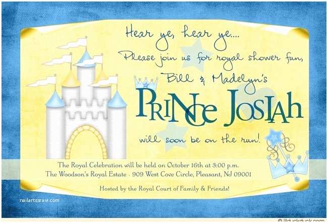 Prince themed Baby Shower Invitations Sunny Prince Baby Shower Invitation Nursery Castle theme