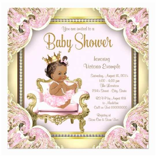 Princess Baby Shower Invitations African American Princess Baby Shower Invitation
