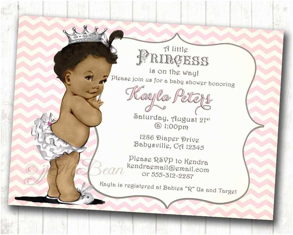 Princess Baby Shower Invitations Chevron African American Princess Baby Shower Invitation for