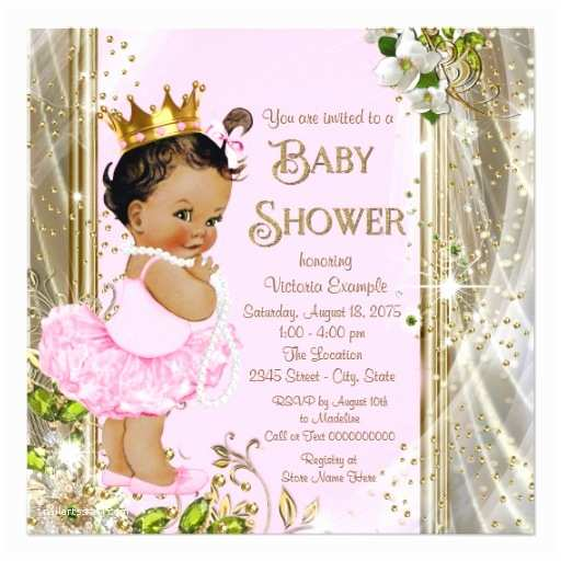 ethnic princess tutu pink gold baby shower invitation