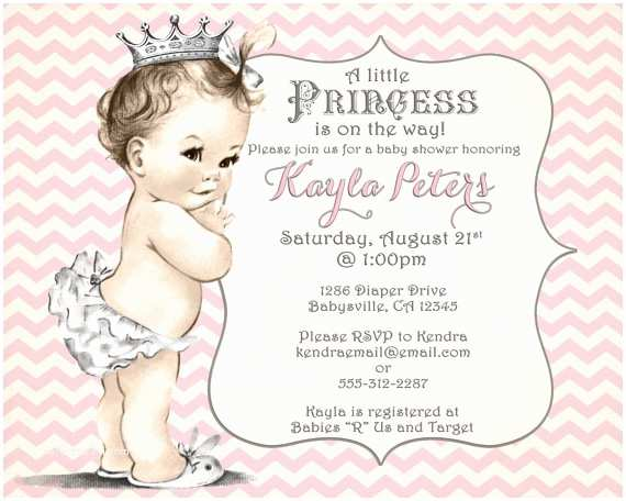 Princess Baby Shower Invitations Girl Baby Shower Invitation Chevron Princess for Girl Pink
