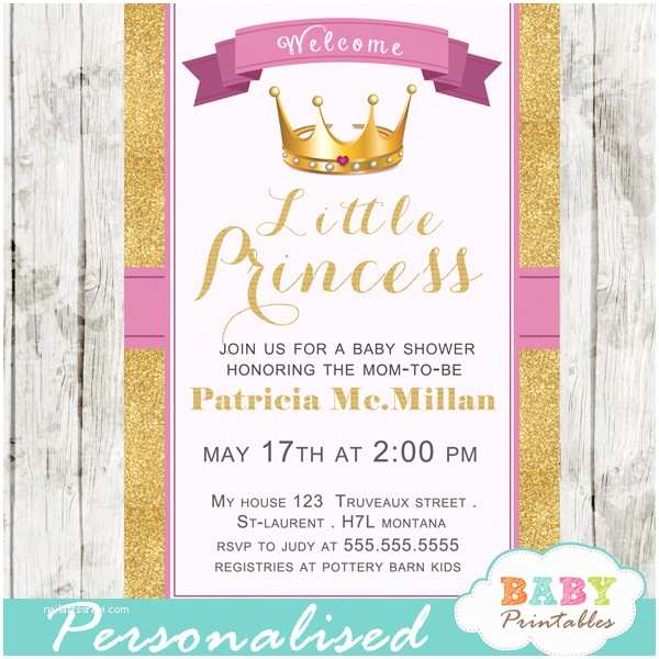Princess Baby Shower Invitations Pink and Gold Royal Princess Baby Shower Invitation D280
