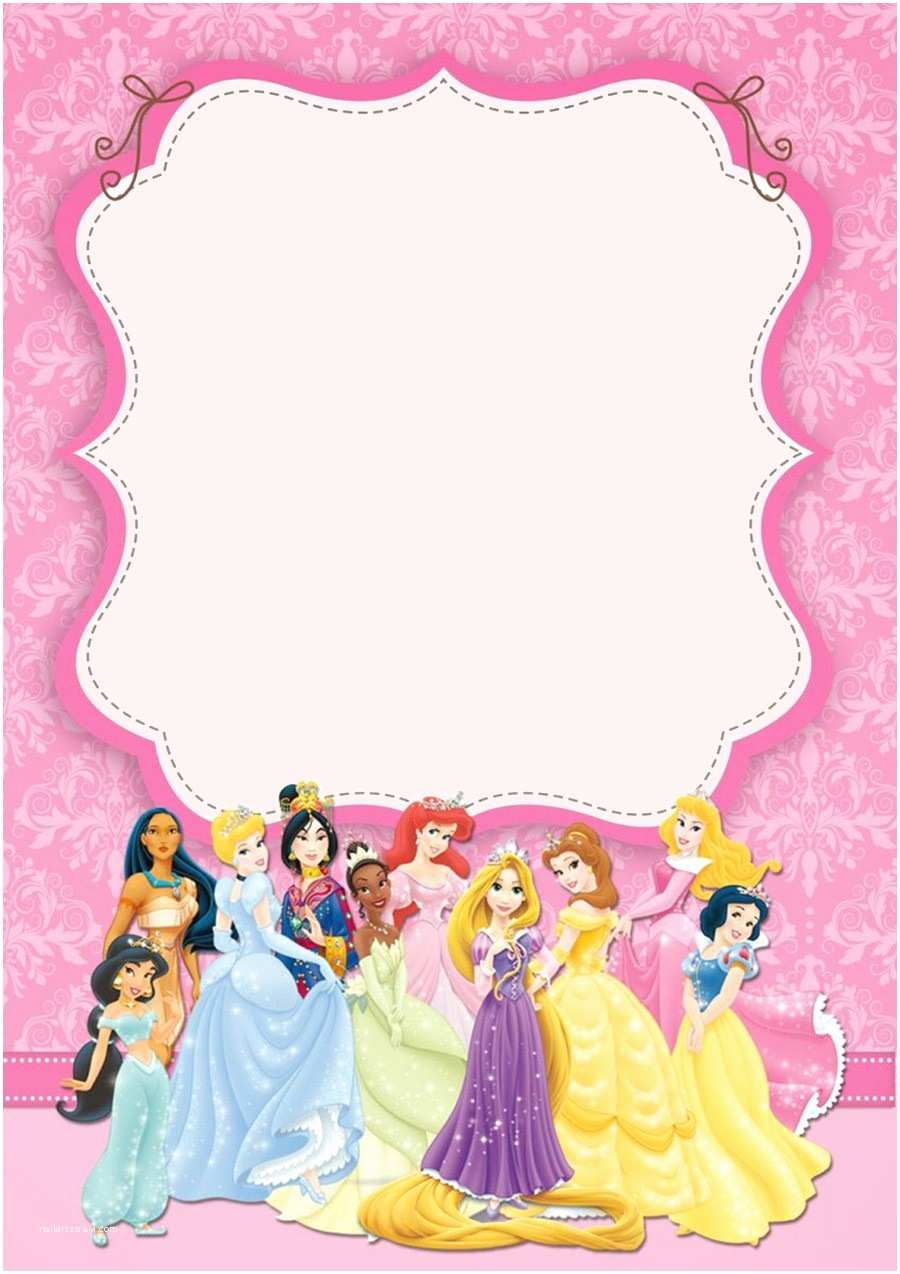 Princess Birthday Invitations Disney Princesses Birthday Invitation Template Free