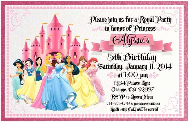 Princess Birthday Invitations Free Disney Invitation Cards Template