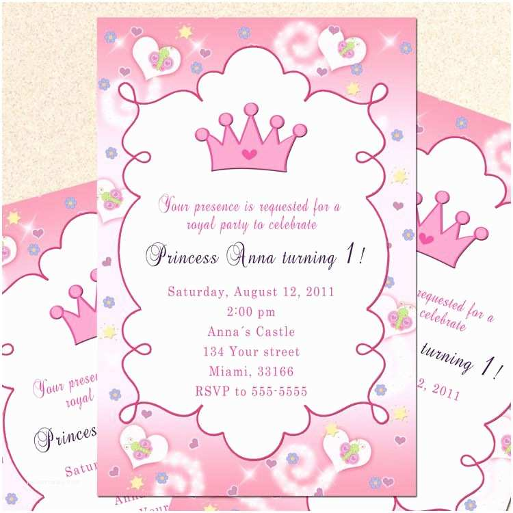 Princess Birthday Invitations Princess Birthday Invitation Card butterfly Custom Girl