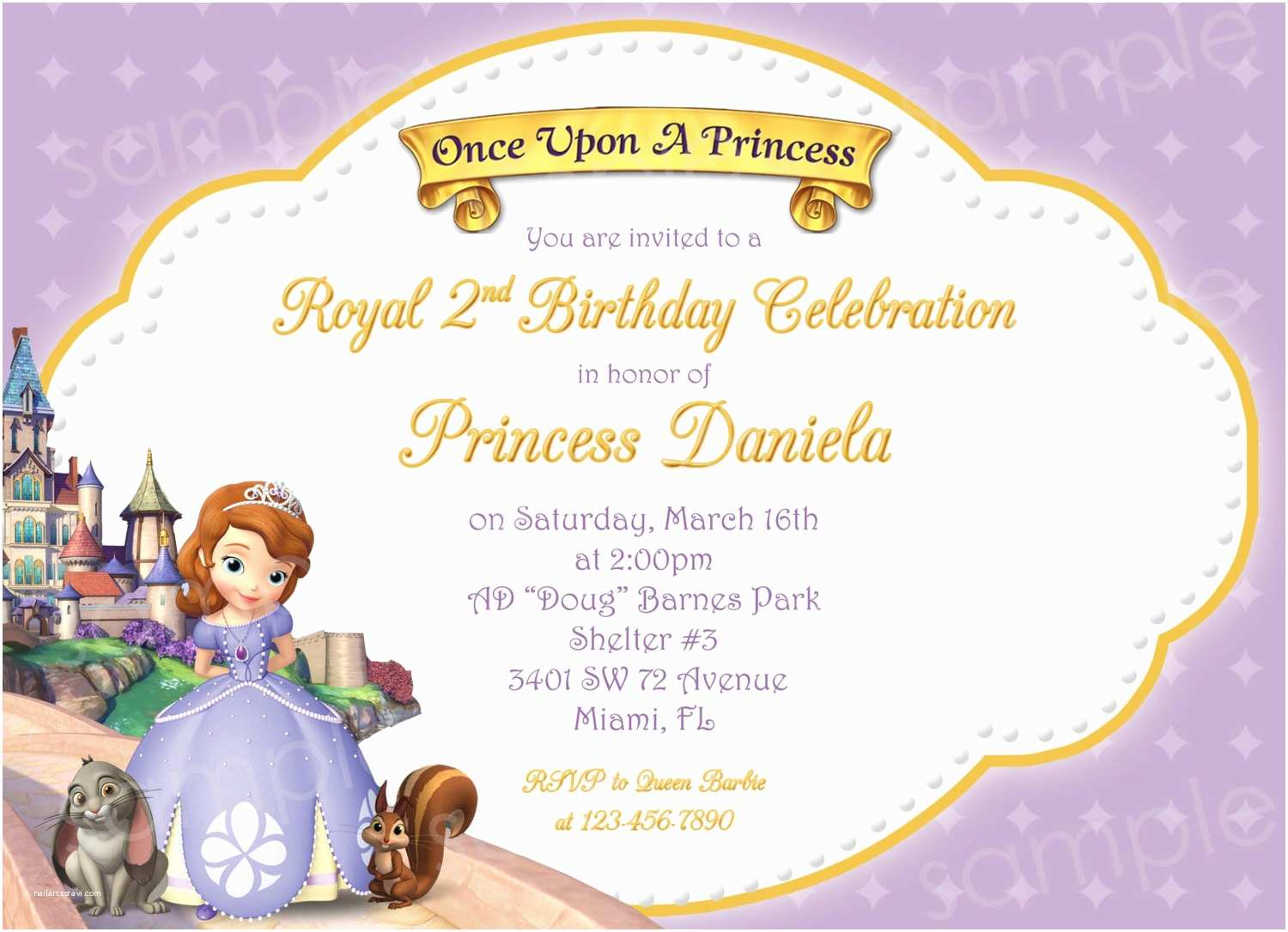 Princess Birthday Invitations Sofia Ideas Bagvania Free