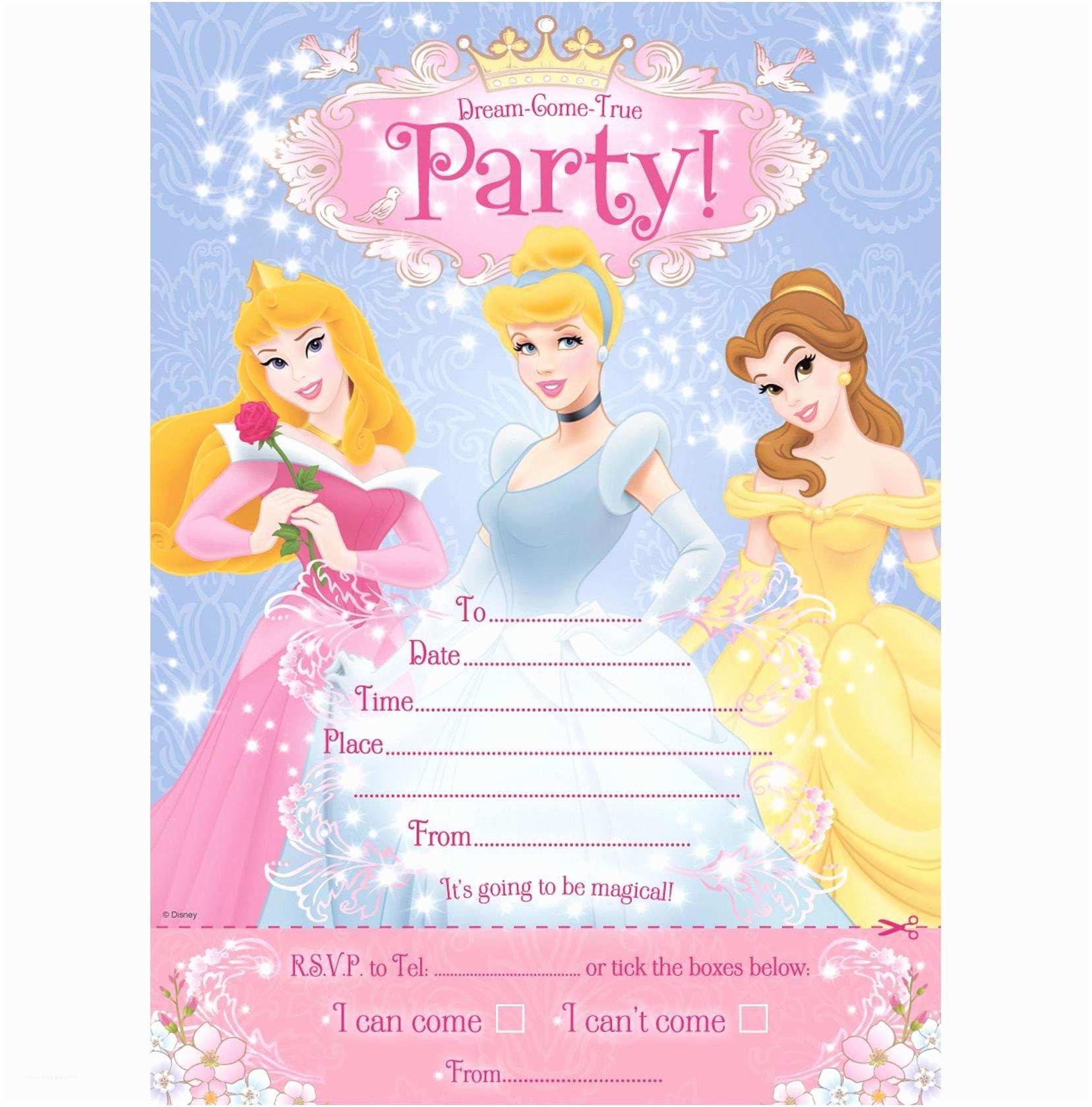 Princess Birthday Party Invitations Birthday Invitation Card Disney Princesses Birthday