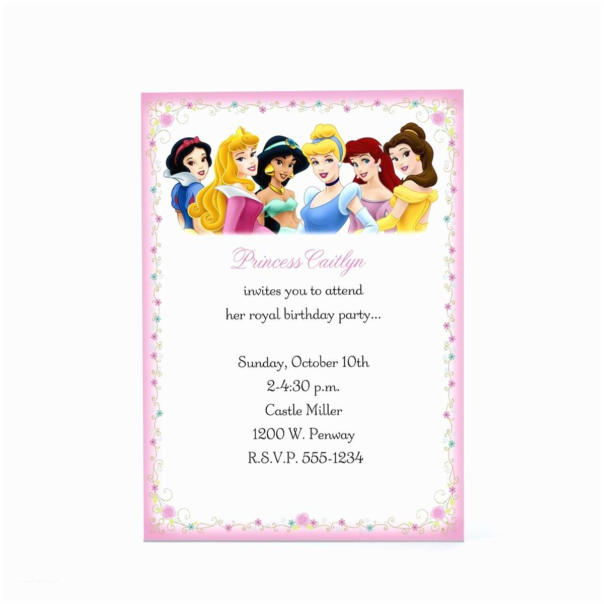 Princess Birthday Party Invitations Disney Party Invitations Template Resume Builder