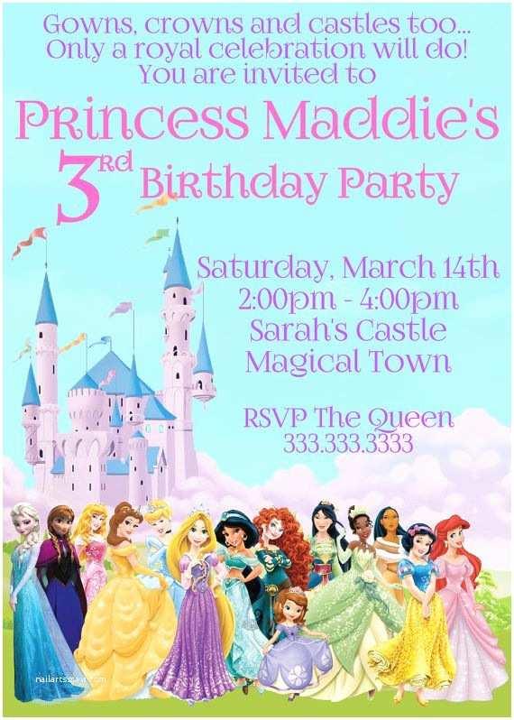 Princess Birthday Party Invitations Disney Princess Invitation Princess Birthday by Cute