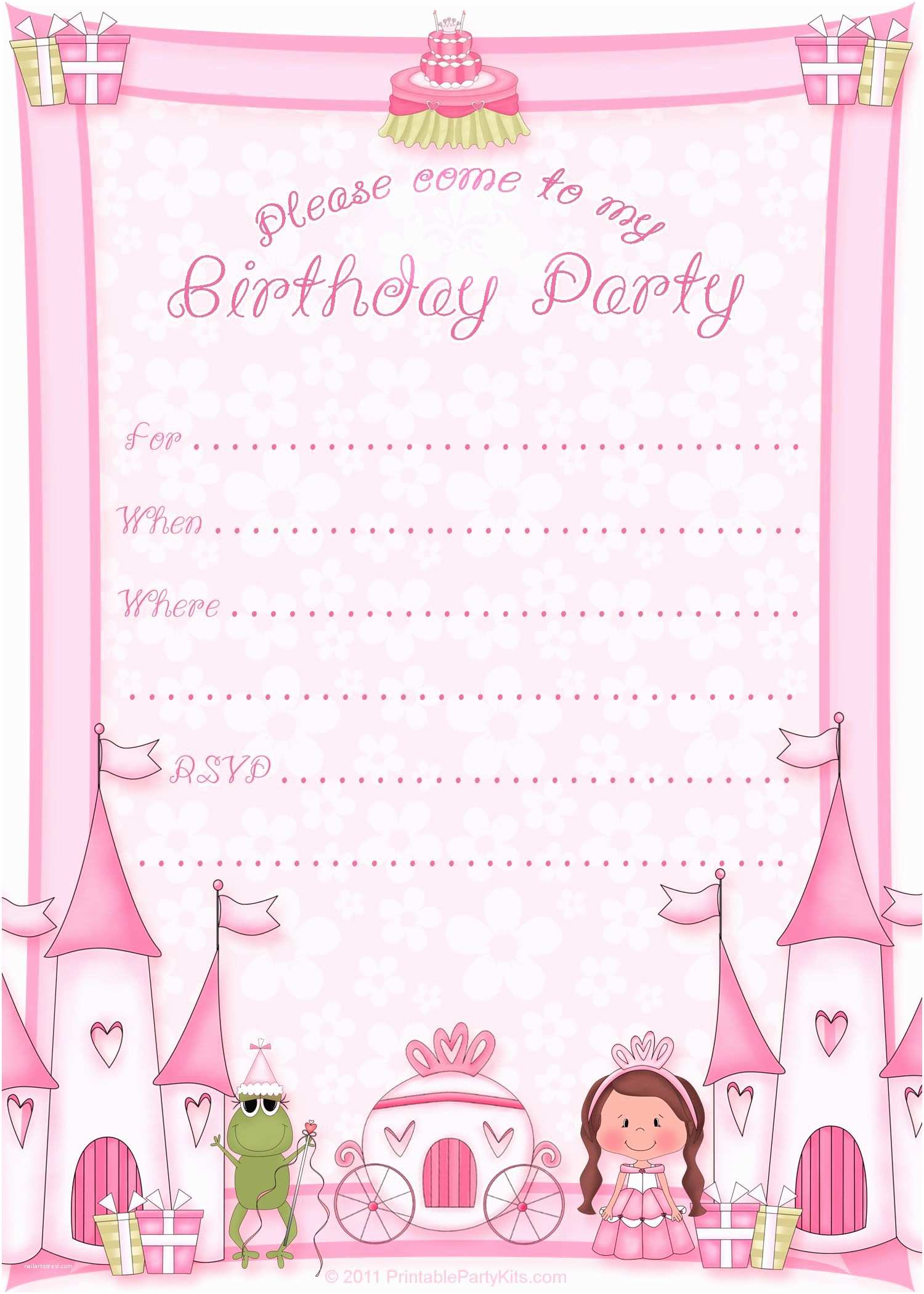 Princess Birthday Party Invitations Free Printable Invitation Pinned for Kidfolio the