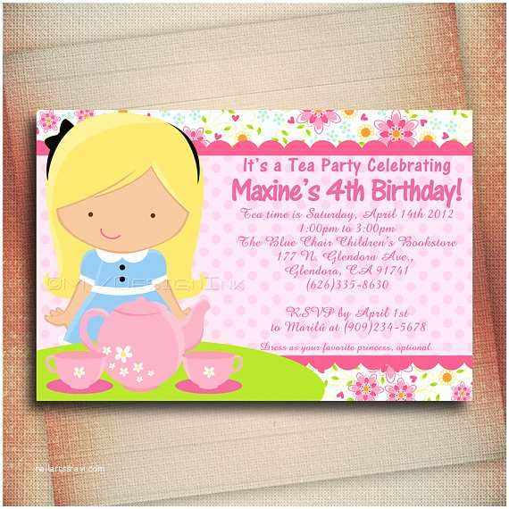 Princess Tea Party Invitations Princess Tea Party Birthday Invitation Princess Tea