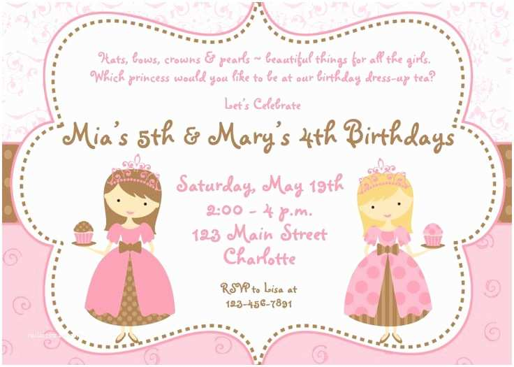 princess tea party birthday invitations