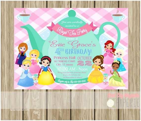 Princess Tea Party Invitations Princess Tea Party Invitation Birthday Invite by