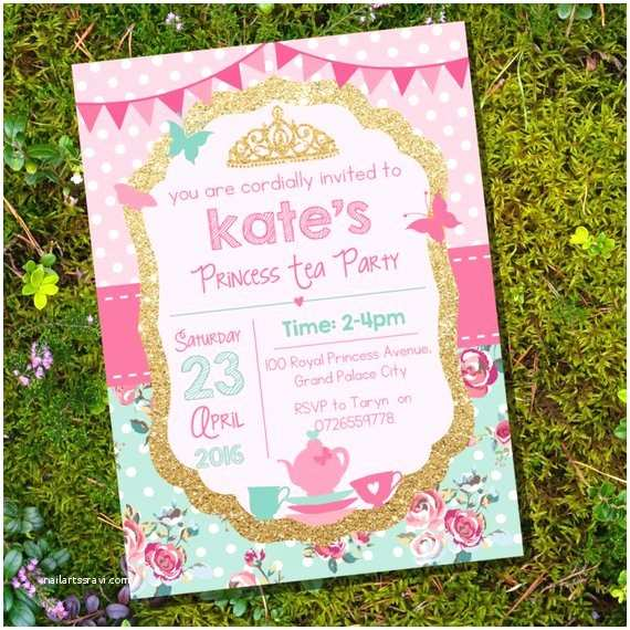 Princess Tea Party Invitations Princess Tea Party Invitation Pink and Gold Glitter Shabby