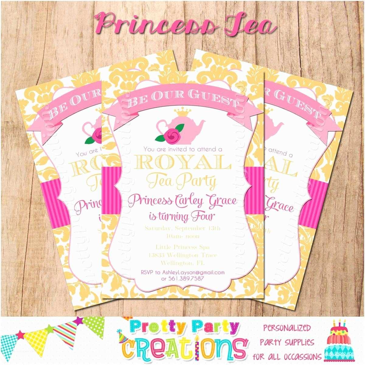 Princess Tea Party Invitations Princess Tea Party Invitation You Print