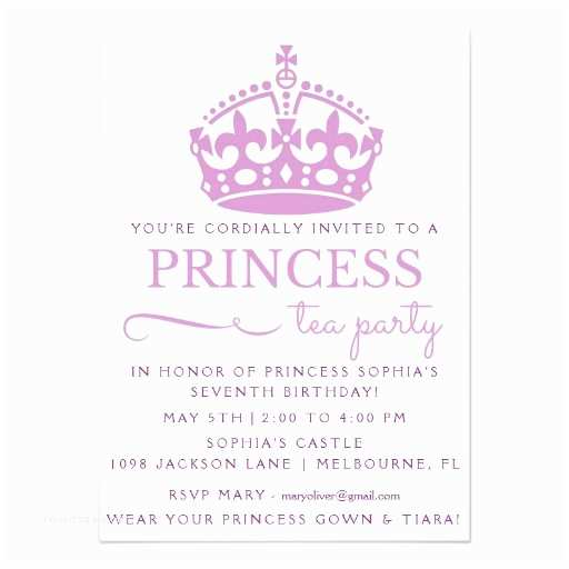 Princess Tea Party Invitations Purple Princess Tea Party Birthday Invitations