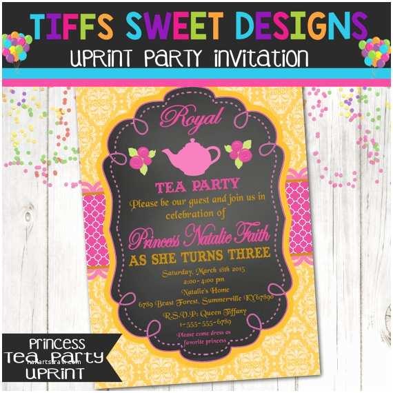 Princess Tea Party Invitations Royal Princess Tea Party Birthday Invitation by