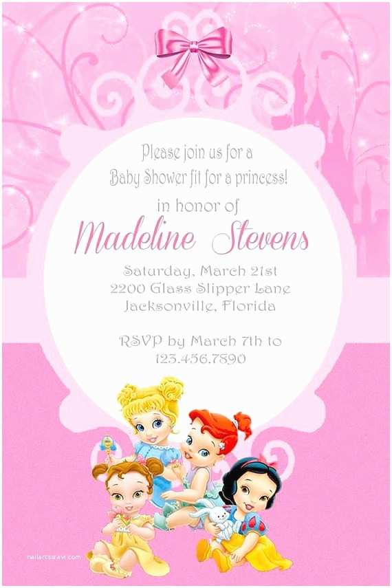 Princess Theme Baby Shower Invitations Custom Belle