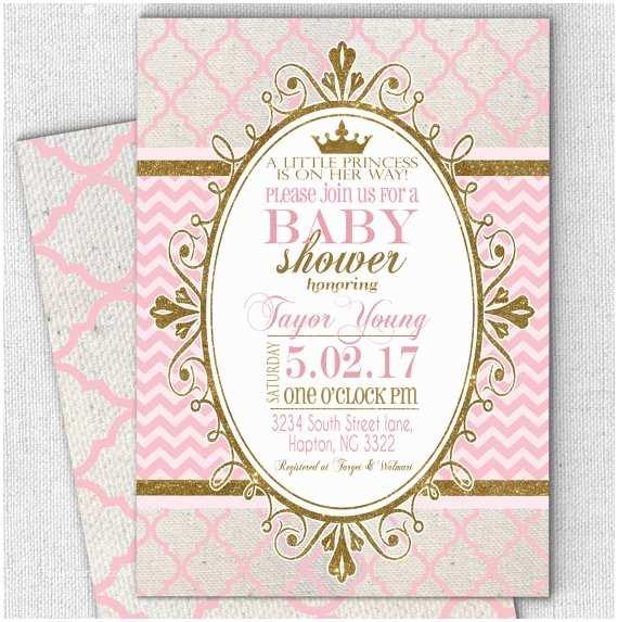 Princess theme Baby Shower Invitations Princess Pink Gold Baby Shower Invitation Fast Customized