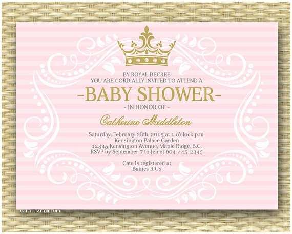 Princess theme Baby Shower Invitations Royal Princess Baby Shower Invitation Little Princess Baby