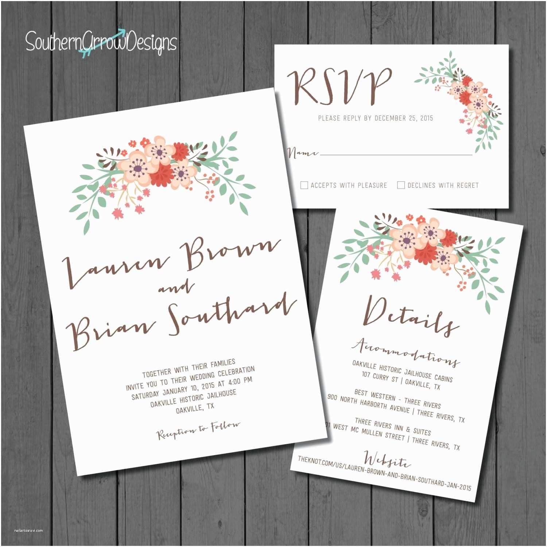 Print at Home Wedding Invitations Floral Wedding Invitation Pack – Print at Home