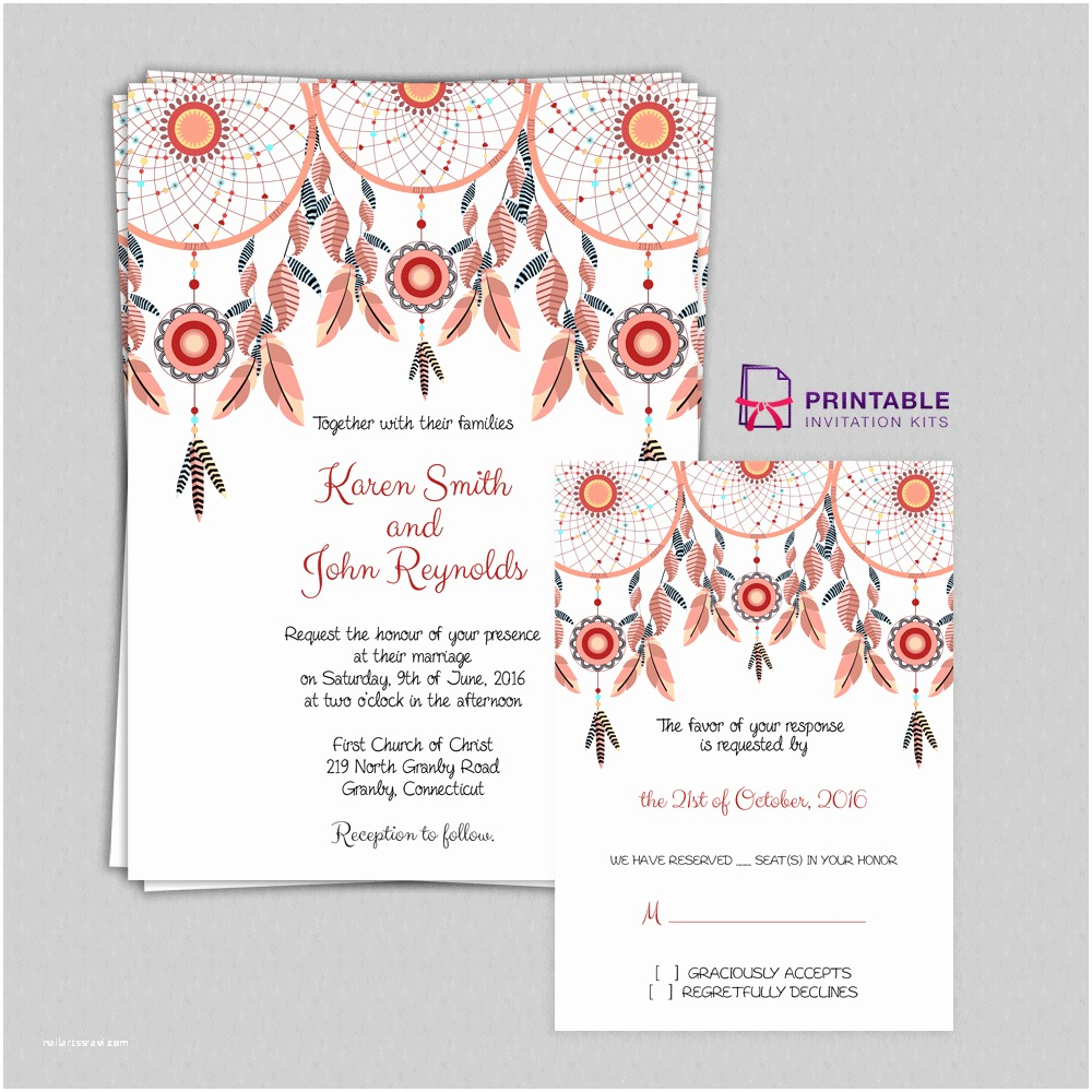 Print at Home Wedding Invitations Free Pdf Boho theme Dreamcatchers Wedding Invitation and