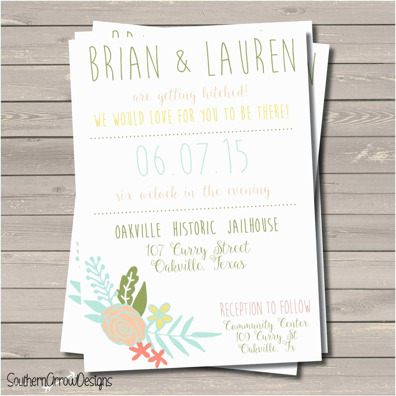 Print at Home Wedding Invitations Fun Floral Wedding Invitation – Print at Home