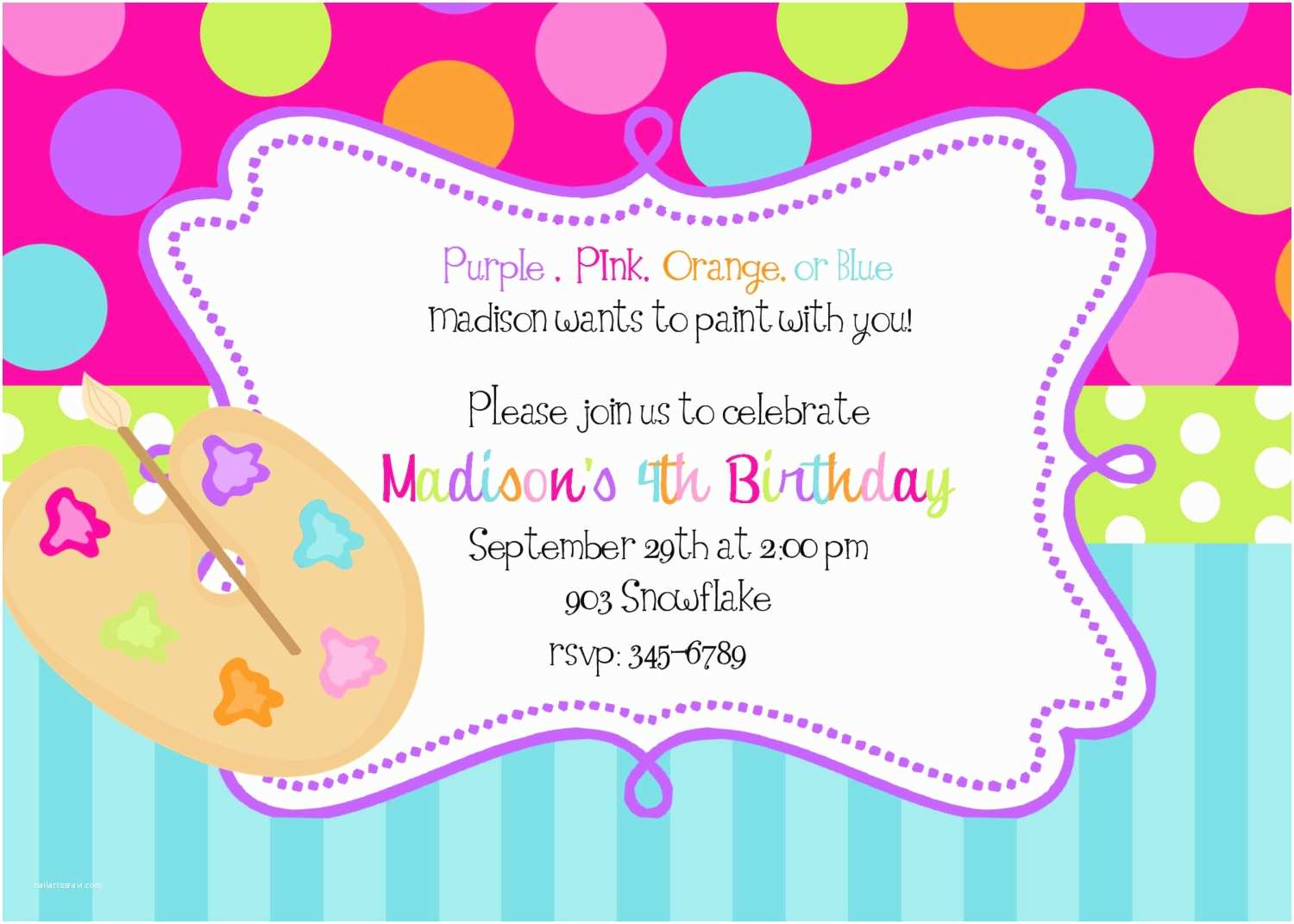 Printable Birthday Party Invitations Invites Awesome 10 Art Painting