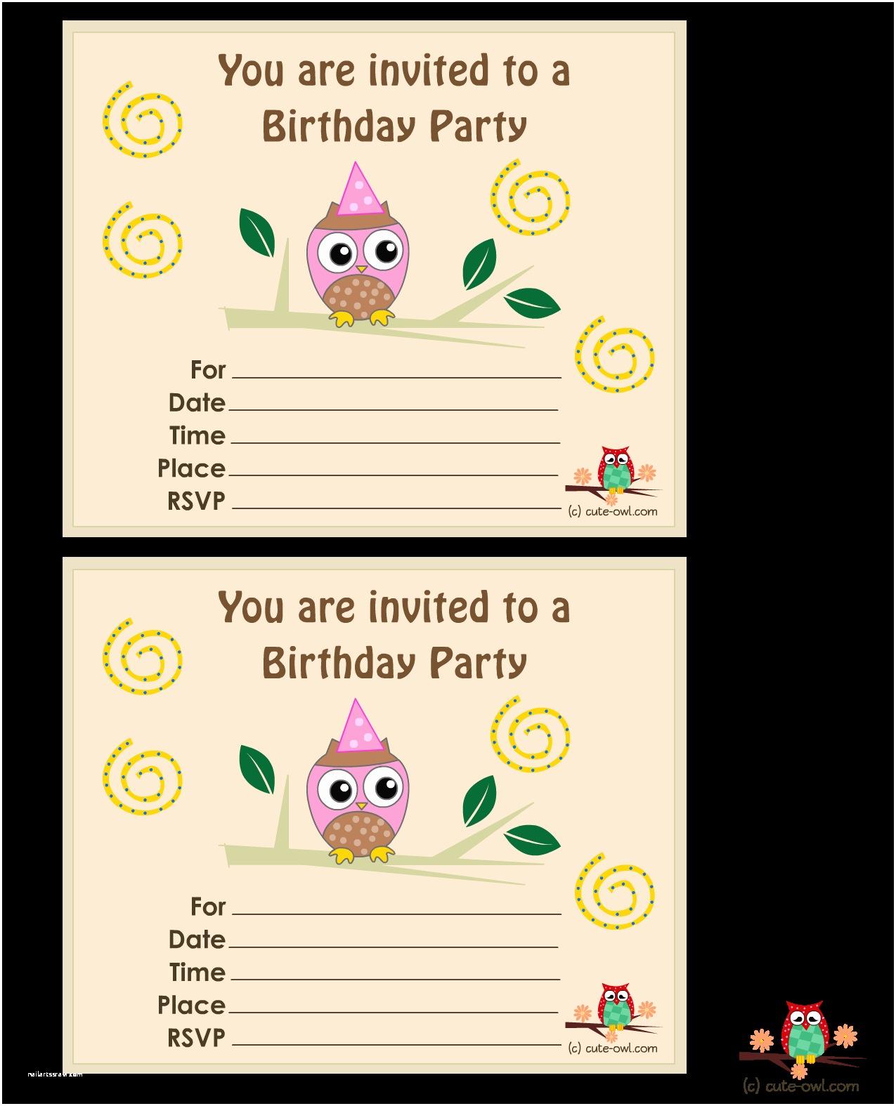 Printable Birthday Party Invitations Free Owl