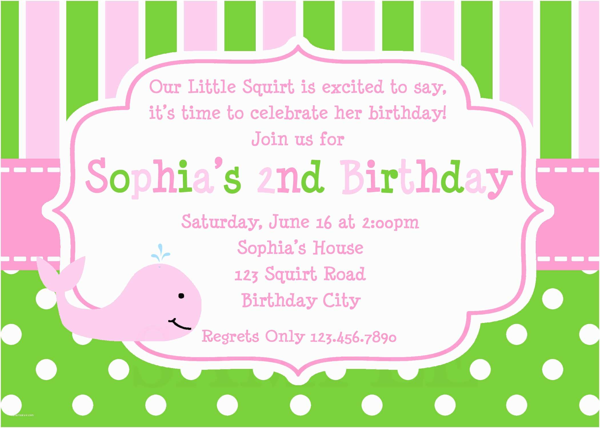 girls whale birthday party invitation