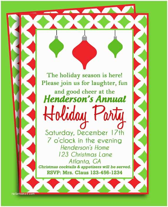 Printable Christmas Party Invitations Christmas Party Invitation Printable or Printed with Free