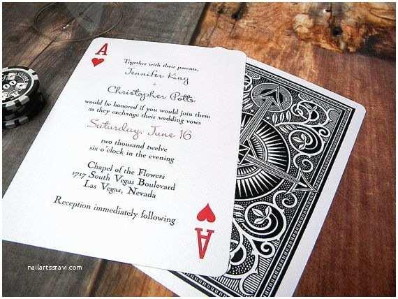 Printable Las Vegas Wedding Invitations Ace Of Hearts Wedding Invitation Playing Card Vegas