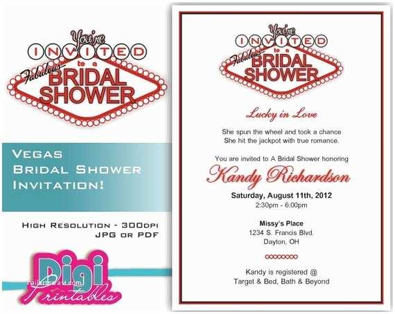 Printable Las Vegas Wedding Invitations Bridal Shower Invitation Las Vegas Digital Download Diy