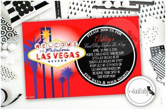 Printable Las Vegas Wedding Invitations Las Vegas Bachelorette Party Invitation Las Vegas