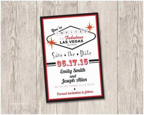 Printable Las Vegas Wedding Invitations Las Vegas Save the Date Printable