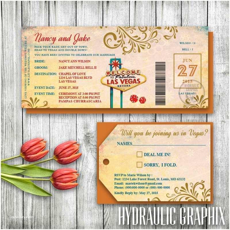 Printable Las Vegas Wedding Invitations Las Vegas Wedding Invitation Ticket Las Vegas Invitation Set
