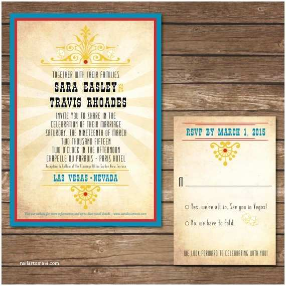 Printable Las Vegas Wedding Invitations Printable Las Vegas Wedding Invitation with Rsvp Card