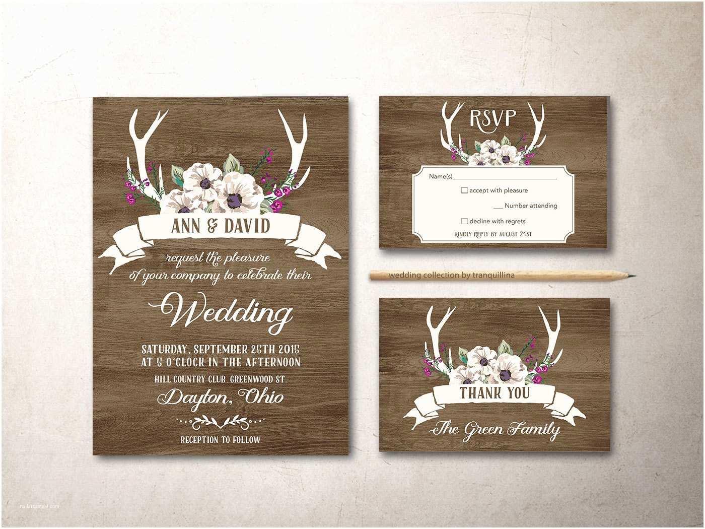 Printable Rustic Wedding Invitations Deer Antlers Wedding Invitation Printable Rustic Wedding