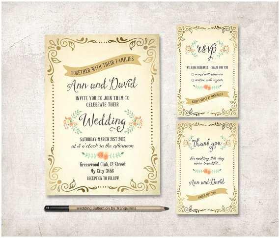 Printable Rustic Wedding Invitations Rustic Wedding Invitation Printable Wedding Stationery